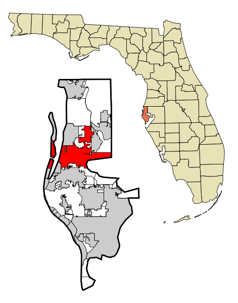 471px Pinellas County Florida Incorporated and Unincorporated areas Clearwater Highlighted svg